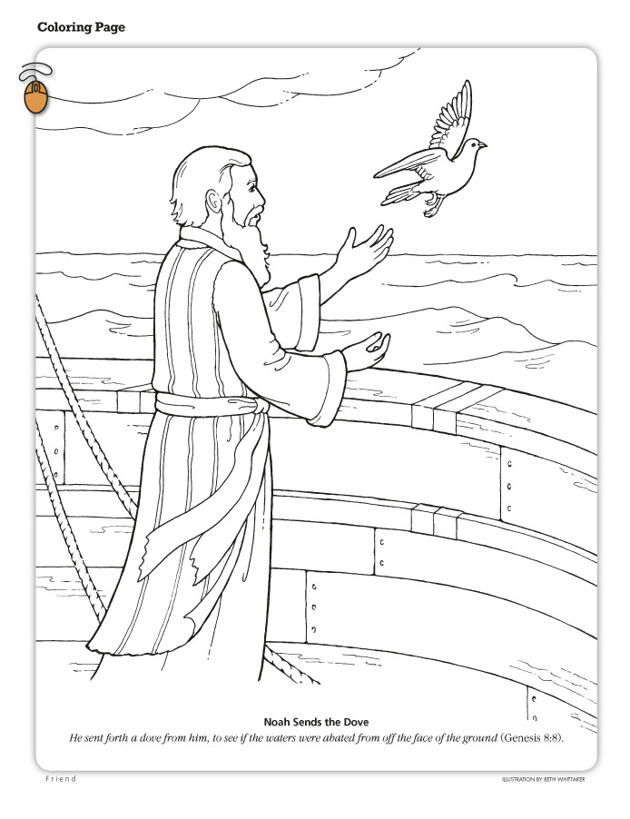 March 2010 Page 46 Noah Sends The Dove Stands On Ark And A Has Just Left His Hand Includes Text From Genesis 88