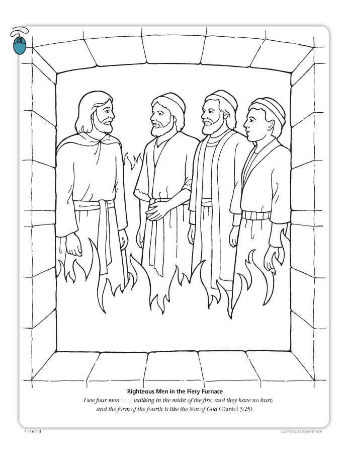Furnace A Coloring Page Of The Bible Story Three Friends Daniel With Fourth Man In Scriptural Text From 325