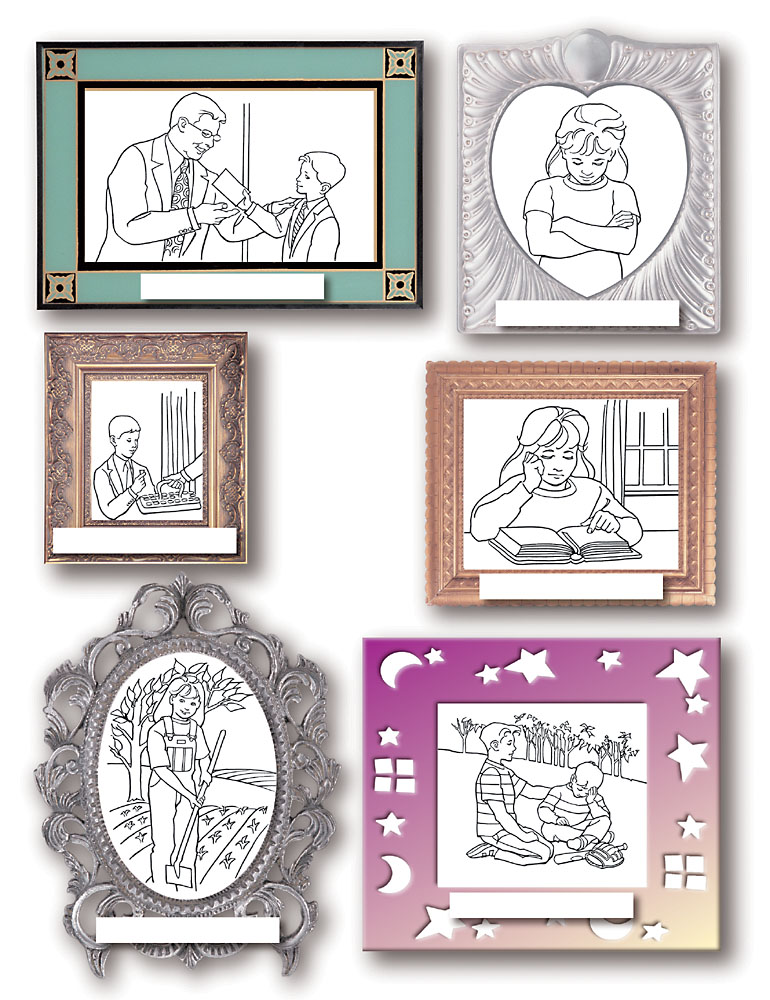 follow the prophet 6 mini framed pictures depicting tithe paying prayer the sacrament reading gardening and helping others