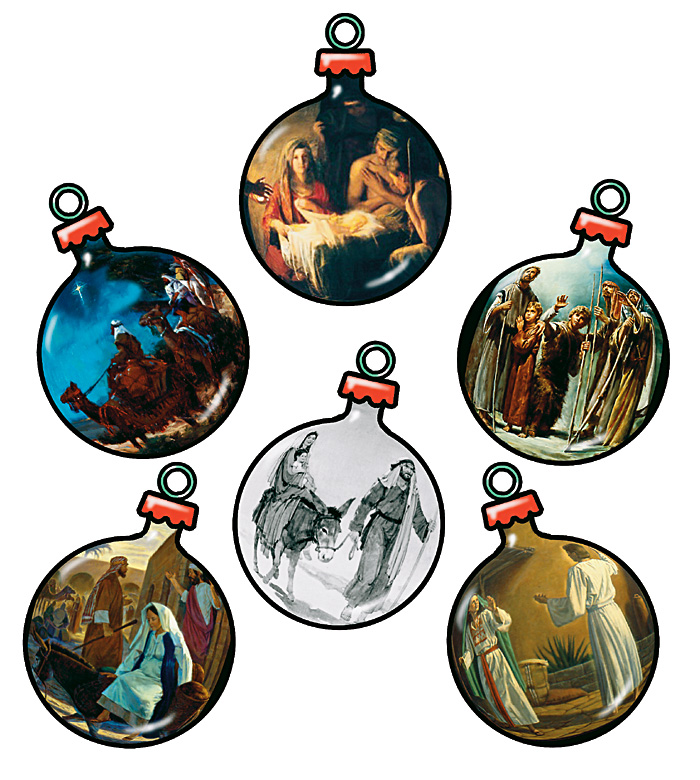 Ornaments with paintings of Christ