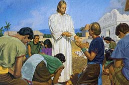 Jesus told the people felt the marks in His hands and feet