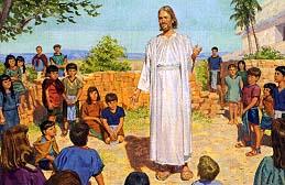 Nephites bring their little children to Jesus
