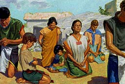 The Nephites knelt and prayed