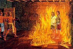 Nephi and Lehi protected from fire