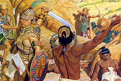 Moroni's soldiers ready to kill remaining Lamanites