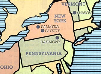 Map of New York and Pennsylvania