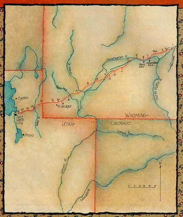 Map of Wyoming and Utah