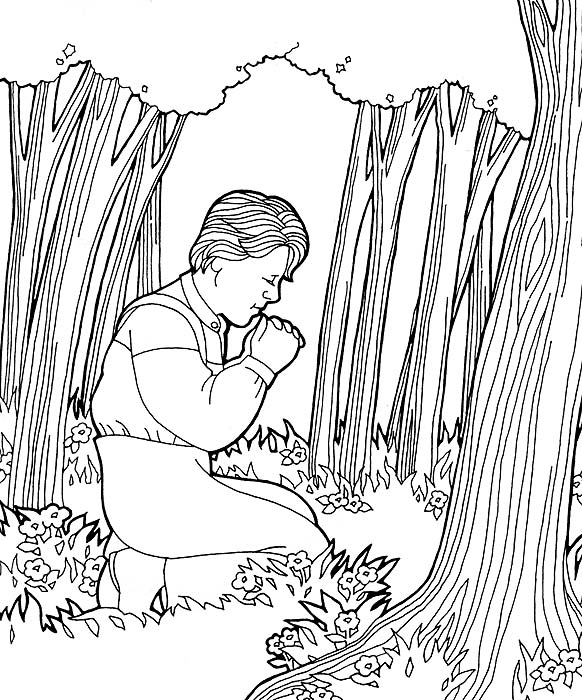 joseph smith first vision coloring page joseph smiths first prayer - Lds Primary Coloring Pages Prayer