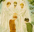 Peter, James and John restore Melchizedek Priesthood