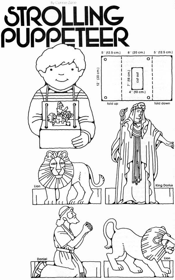 Daniel and the Lion's Den Puppets , finger puppets and instructions. title=