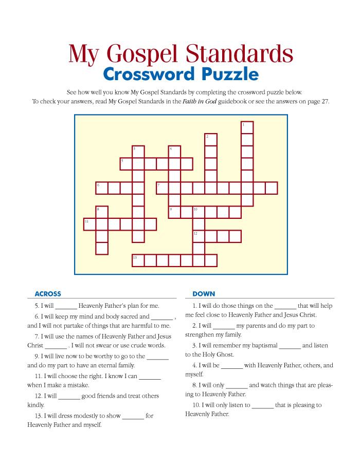 My Gospel Standards Crossword Puzzle