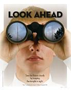 young man looking through binoculars