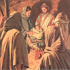 The shepherds saw baby Jesus