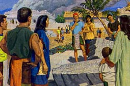 Nephites at the temple in Bountiful
