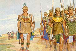 Moroni marches to meet Lamanites