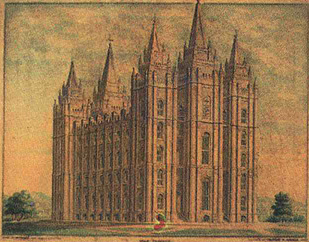 Architectural rendering of the Salt Lake Temple