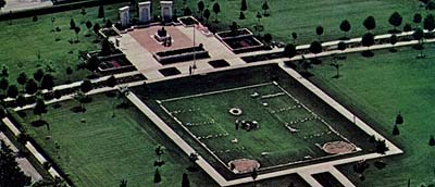 Aerial view of the temple lot in Nauvoo looking east