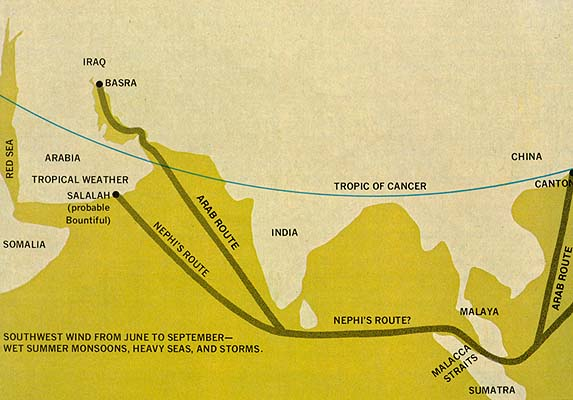 Ancient Arab Sea Route and Possible Route of Nephi's Ship