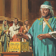 Jesus saw a rich man put money into the temple box