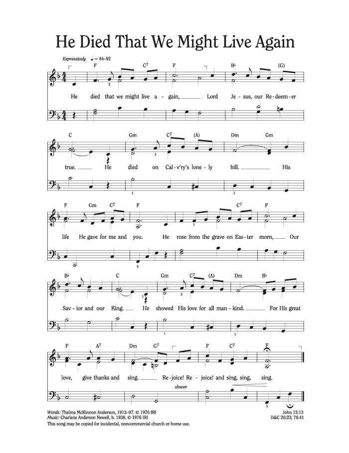 gethsemane lds sheet music