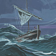 The disciples were in a boat when a storm came up