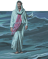 Jesus walked on the water to the boat