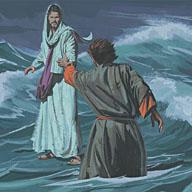 Jesus grabbed Peter's hand