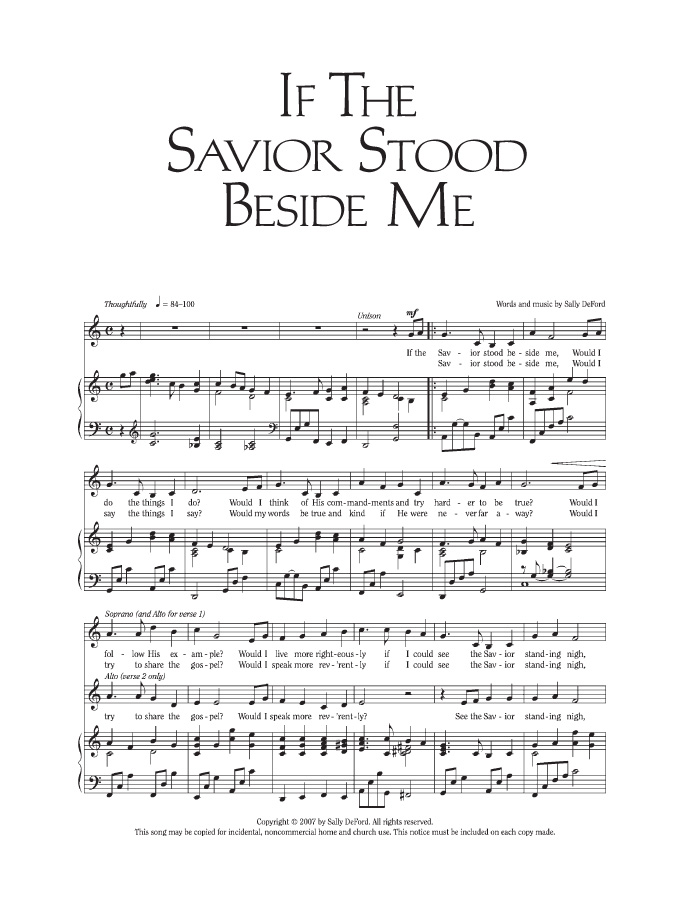 Music, If the Savior Stood Beside Me