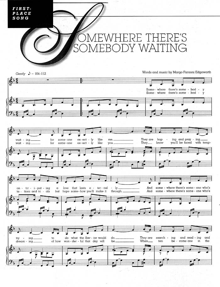 music, Somewhere There's Somebody Waiting, left page