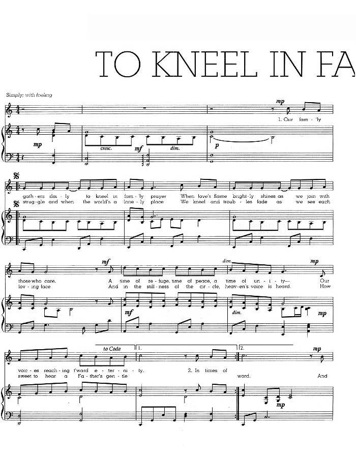 Music, To Kneel in Family Prayer