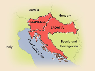 Map of Slovenia and Croatia