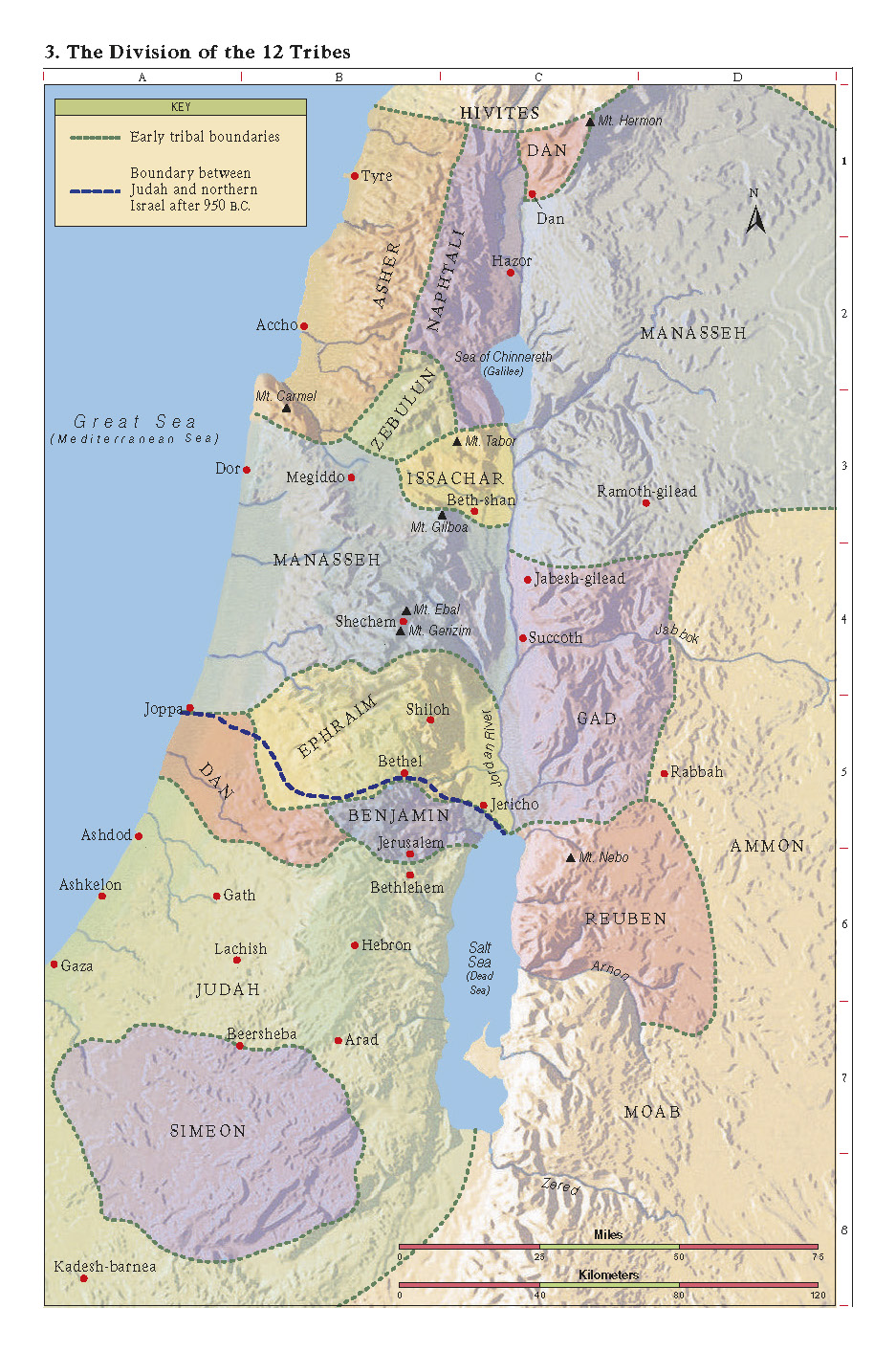 Unit Day Joshua - Map of old testament israel