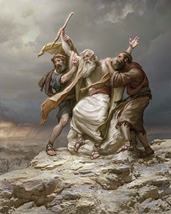 Moses with men holding up his hands