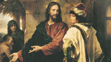 the Savior talking to a rich young ruler