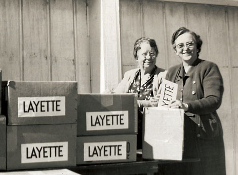 Relief Society sisters with boxes