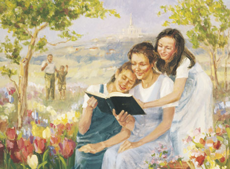 women reading in a garden