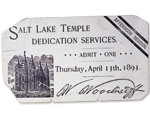 ticket for dedication of Salt Lake Temple