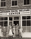 Relief Society sisters at a sewing and canning center