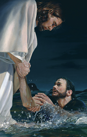 Christ with Peter in water