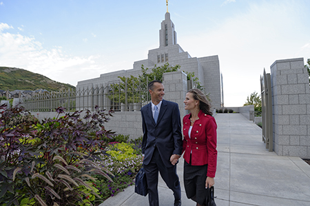 couple with temple in background