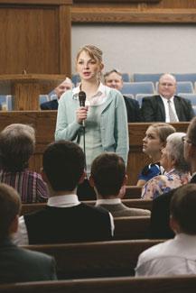 young woman bearing testimony