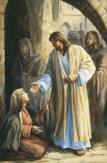 woman touching Christ's robe