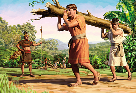 Nephites carrying log