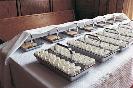 bread and water on sacrament table