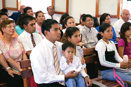 families in sacrament meeting