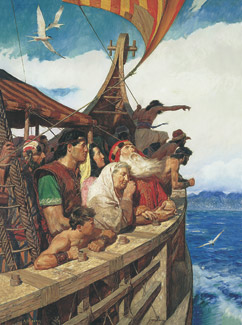 Lehi's family sail to the promised land
