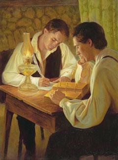 Joseph Smith translating the Book of Mormon