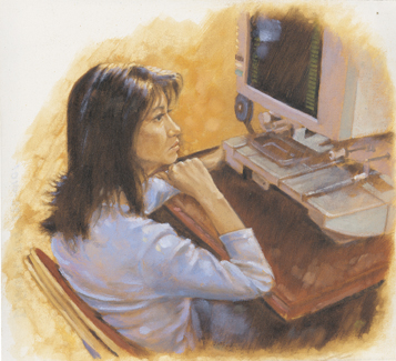 woman looking at microfilm reader