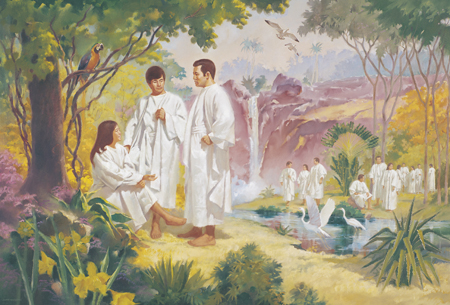 pre-earth life, people in white robes