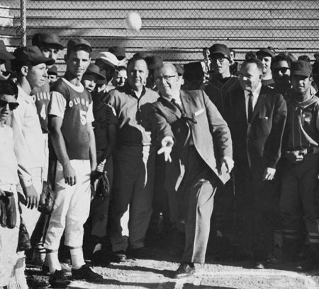 Ezra Taft Benson with baseball players